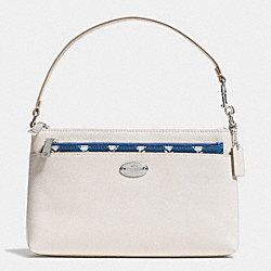 COACH F53322 - POP POUCH IN BADLANDS FLORAL CROSSGRAIN LEATHER  SILVER/CHALK MULTI