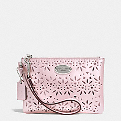 COACH F53336 Small Wristlet In Eyelet Leather  SILVER/SHELL PINK