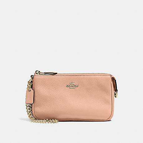 COACH F53340 LARGE WRISTLET 19 IN PEBBLE LEATHER IMITATION-GOLD/NUDE-PINK