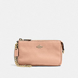 COACH F53340 - LARGE WRISTLET 19 IN PEBBLE LEATHER IMITATION GOLD/NUDE PINK