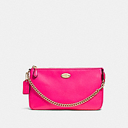 COACH F53340 Large Wristlet 19 In Pebble Leather LIGHT GOLD/PINK RUBY