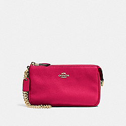 COACH F53340 Large Wristlet 19 In Pebble Leather IMITATION GOLD/BRIGHT PINK