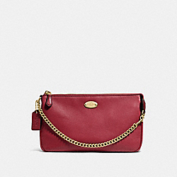 COACH F53340 Large Wristlet 19 In Pebble Leather IMITATION GOLD/CRANBERRY