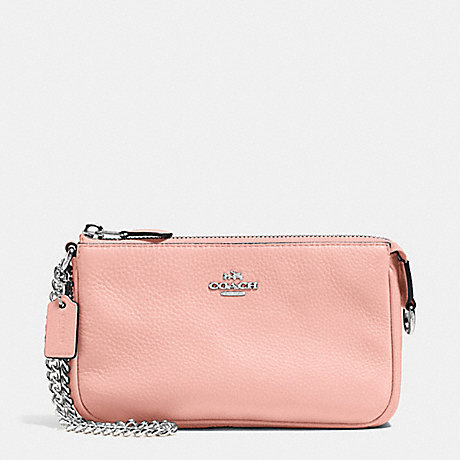 COACH f53340 LARGE WRISTLET 19 IN PEBBLE LEATHER SILVER/BLUSH