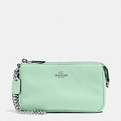 COACH F53340 Large Wristlet 19 In Pebble Leather SILVER/SEAGLASS