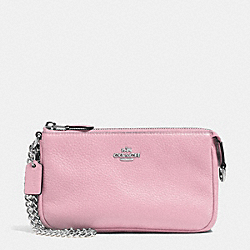 COACH F53340 Large Wristlet 19 In Pebble Leather SILVER/PETAL