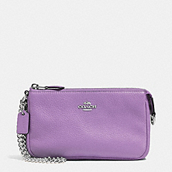 COACH F53340 Large Wristlet 19 In Pebble Leather SILVER/LILAC