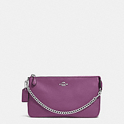 COACH F53340 - LARGE WRISTLET 19 IN PEBBLE LEATHER SILVER/MAUVE