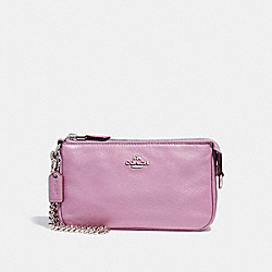 COACH LARGE WRISTLET 19 IN PEBBLE LEATHER - SILVER/LILAC 2 - F53340