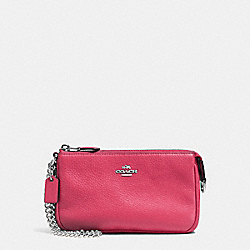 COACH F53340 Large Wristlet 19 In Pebble Leather SILVER/STRAWBERRY