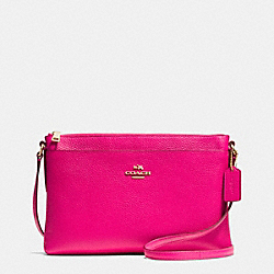 COACH F53357 Journal Crossbody In Pebble Leather LIGHT GOLD/PINK RUBY