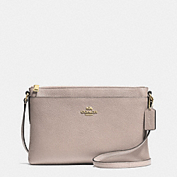 JOURNAL CROSSBODY IN POLISHED PEBBLE LEATHER - f53357 - LIGHT GOLD/GREY BIRCH
