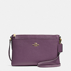 JOURNAL CROSSBODY IN PEBBLE LEATHER - f53357 - LIGHT GOLD/EGGPLANT