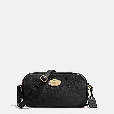 COACH f53372 CROSSBODY POUCH IN PEBBLE LEATHER LIGHT GOLD/BLACK