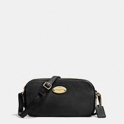 COACH F53372 - CROSSBODY POUCH IN PEBBLE LEATHER LIGHT GOLD/BLACK