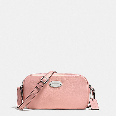 COACH f53372 CROSSBODY POUCH IN PEBBLE LEATHER SILVER/BLUSH