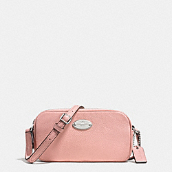 COACH F53372 - CROSSBODY POUCH IN PEBBLE LEATHER SILVER/BLUSH