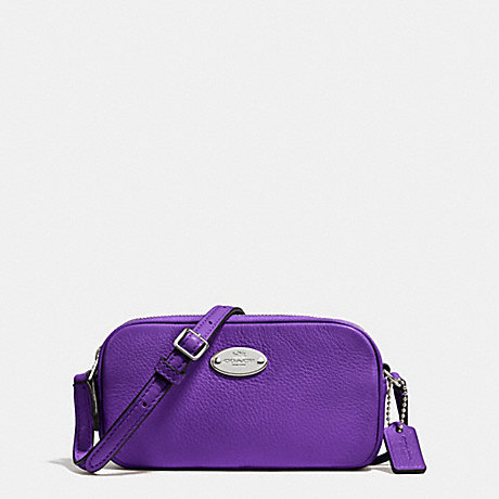 COACH f53372 CROSSBODY POUCH IN PEBBLE LEATHER SILVER/PURPLE IRIS