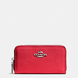 COACH F53373 Small Double Zip Coin Case SV/TRUE RED