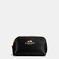 COACH F53384 Cosmetic Case 9 In Crossgrain Leather IMITATION GOLD/BLACK