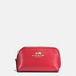 COACH F53384 Cosmetic Case 9 In Crossgrain Leather IMITATION GOLD/CLASSIC RED