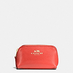 COSMETIC CASE 9 IN CROSSGRAIN LEATHER - f53384 - IMITATION GOLD/WATERMELON