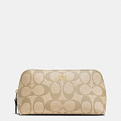 COSMETIC CASE 17 IN SIGNATURE CANVAS - F53385 - GOLD/LIGHT KHAKI/CHALK