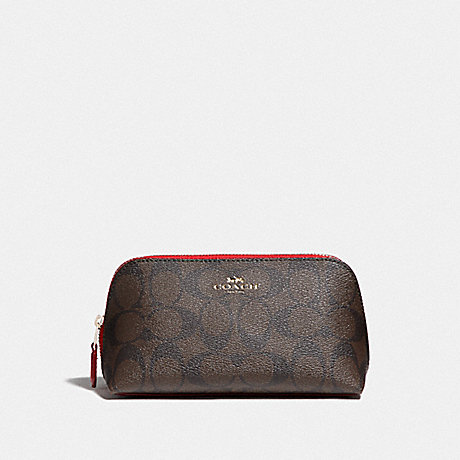 COACH F53385 COSMETIC CASE 17 IN SIGNATURE CANVAS BROWN/TRUE RED/IMITATION GOLD