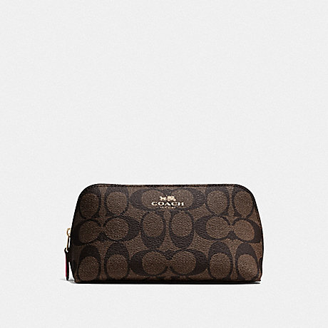 COACH F53385 COSMETIC CASE 17 IN SIGNATURE CANVAS BROWN/STRAWBERRY/IMITATION GOLD