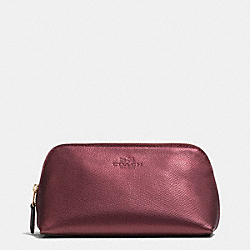 COACH F53386 Cosmetic Case 17 In Crossgrain Leather IMITATION GOLD/METALLIC CHERRY