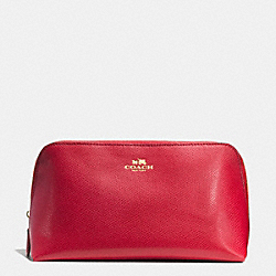 COACH F53387 Cosmetic Case 22 In Crossgrain Leather IMITATION GOLD/CLASSIC RED