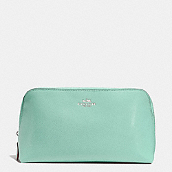 COACH F53387 Cosmetic Case 22 In Crossgrain Leather SILVER/SEAGLASS