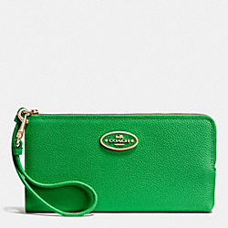 COACH F53413 L-zip Wallet In Refined Grain Leather LIGHTGOLD/GREEN