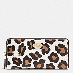 COACH F53414 Accordion Zip Wallet In Ocelot Haircalf LIGHT GOLD/CHALK MULTI