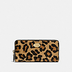 COACH F53414 Accordion Zip Wallet In Ocelot Haircalf IMITATION GOLD/NEUTRAL