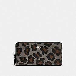 COACH ACCORDION ZIP WALLET WITH OCELOT PRINT - SILVER/GREY MULTI - F53414