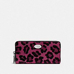 COACH F53414 Accordion Zip Wallet In Ocelot Print Coated Canvas SILVER/CRANBERRY