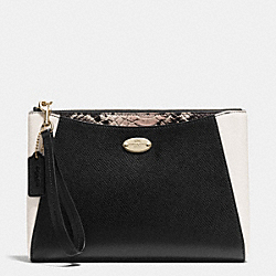 MORGAN CLUTCH 24 IN EXOTIC TRIM LEATHER - f53419 - LIGHT GOLD/BLACK/WHITE