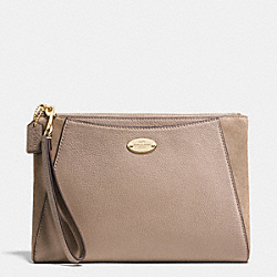 MORGAN CLUTCH 24 IN EXOTIC TRIM LEATHER - f53419 - LIGHT GOLD/STONE