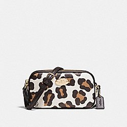 COACH F53421 Crossbody Pouch In Ocelot Print Haircalf LIGHT GOLD/CHALK MULTI