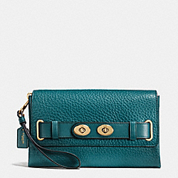 BLAKE CLUTCH IN BUBBLE LEATHER - f53424 - IMITATION GOLD/ATLANTIC