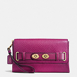 COACH F53424 Blake Clutch In Bubble Leather IMITATION GOLD/FUCHSIA