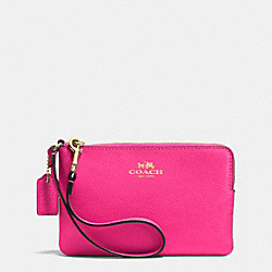 COACH F53429 Corner Zip Wristlet In Crossgrain Leather IMITATION GOLD/PINK RUBY
