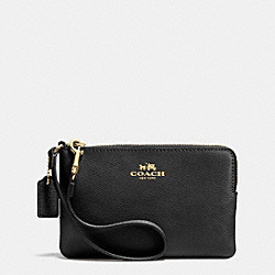 COACH F53429 Corner Zip Wristlet In Crossgrain Leather LIGHT GOLD/BLACK