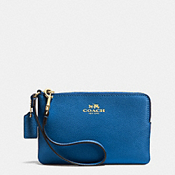 COACH F53429 Corner Zip Wristlet In Crossgrain Leather IMITATION GOLD/BRIGHT MINERAL