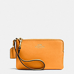 COACH F53429 Corner Zip Wristlet In Crossgrain Leather IMITATION GOLD/ORANGE PEEL