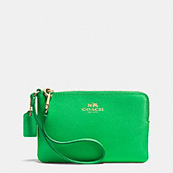 COACH F53429 Corner Zip Wristlet In Crossgrain Leather IMITATION GOLD/KELLY GREEN