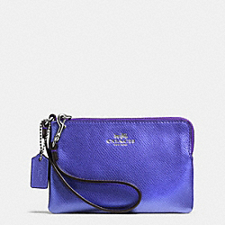 COACH F53429 Corner Zip Wristlet In Crossgrain Leather SILVER/METALLIC PURPLE IRIS