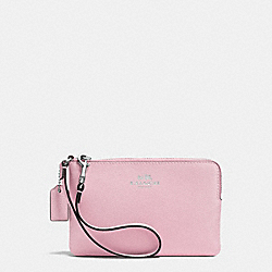 COACH F53429 Corner Zip Wristlet In Crossgrain Leather SILVER/PETAL