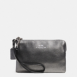 COACH F53429 Corner Zip Wristlet In Crossgrain Leather SILVER/GUNMETAL